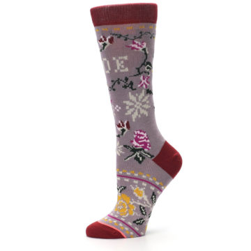 Image of Lilac Floral Slay Ride Women's Casual Socks (side-2-11)