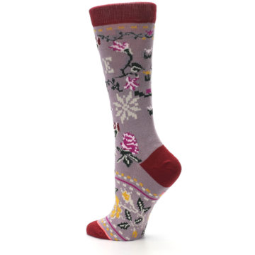 Image of Lilac Floral Slay Ride Women's Casual Socks (side-2-back-14)