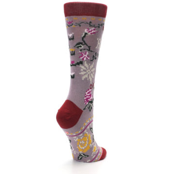 Image of Lilac Floral Slay Ride Women's Casual Socks (side-1-back-22)