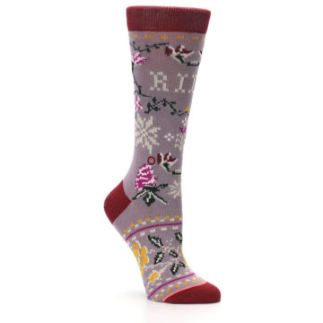 Image of Lilac Floral Slay Ride Women's Casual Socks (side-1-27)