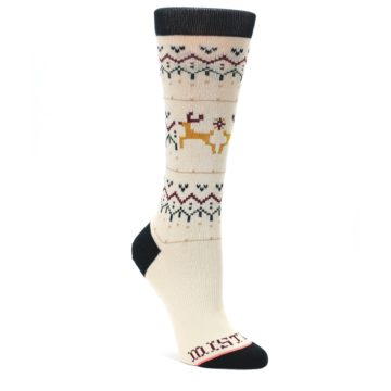 MEDIUM-Cream-Mistle-Toes-Christmas-Womens-Casual-Socks-STANCE