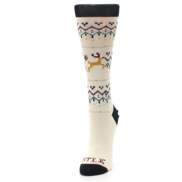 Image of Cream Mistle Toes Christmas Women's Casual Socks (side-2-front-07)