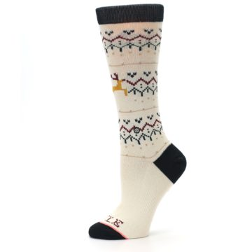 Image of Cream Mistle Toes Christmas Women's Casual Socks (side-2-11)
