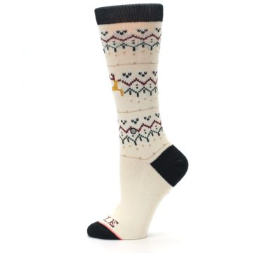 Image of Cream Mistle Toes Christmas Women's Casual Socks (side-2-12)