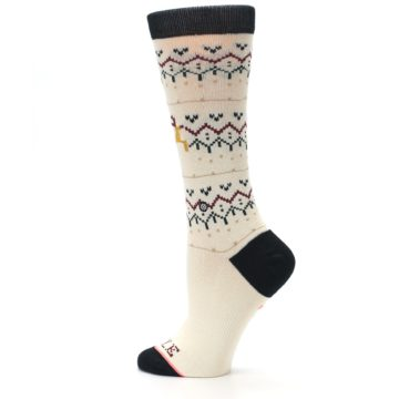 Image of Cream Mistle Toes Christmas Women's Casual Socks (side-2-13)