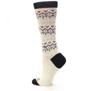 Image of Cream Mistle Toes Christmas Women's Casual Socks (side-2-back-14)