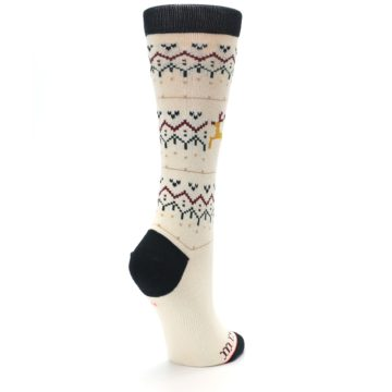 Image of Cream Mistle Toes Christmas Women's Casual Socks (side-1-back-22)