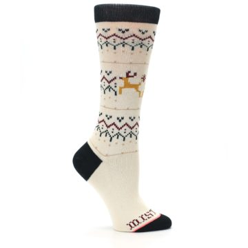 Image of Cream Mistle Toes Christmas Women's Casual Socks (side-1-25)