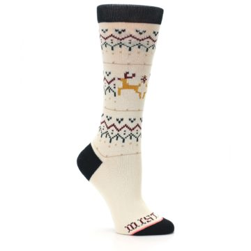 Image of Cream Mistle Toes Christmas Women's Casual Socks (side-1-26)