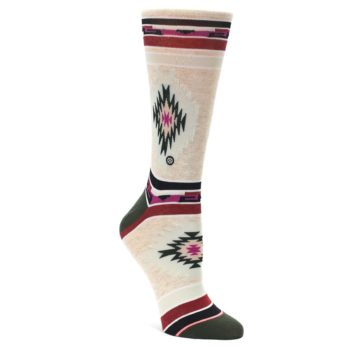 Image of Oatmeal Heather Krista Aztec Women's Casual Socks (side-1-front-01)