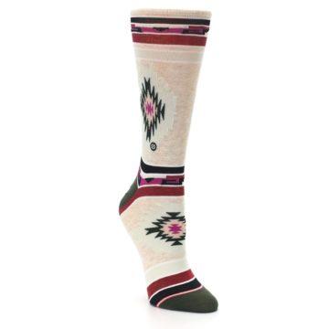 Image of Oatmeal Heather Krista Aztec Women's Casual Socks (side-1-front-02)