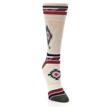 Image of Oatmeal Heather Krista Aztec Women's Casual Socks (side-1-front-03)