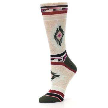 Image of Oatmeal Heather Krista Aztec Women's Casual Socks (side-2-10)