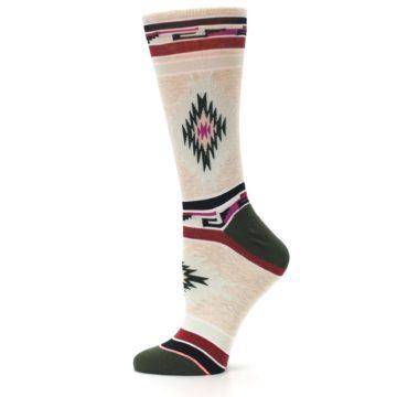Image of Oatmeal Heather Krista Aztec Women's Casual Socks (side-2-11)
