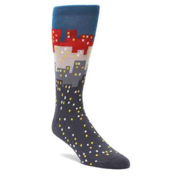Gray-Blue-Red-City-Mens-Dress-Socks-Ballonet-Socks