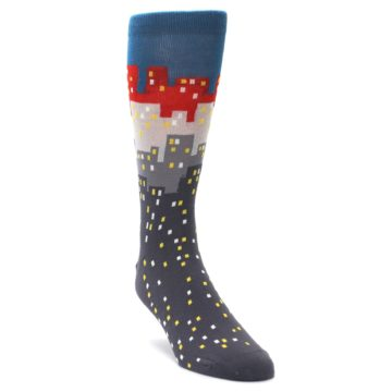 Image of Gray Blue Red City Men's Dress Socks (side-1-front-02)