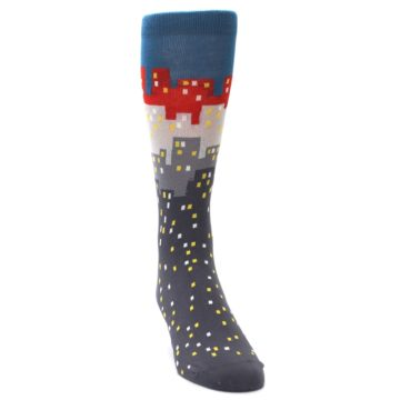 Image of Gray Blue Red City Men's Dress Socks (side-1-front-03)