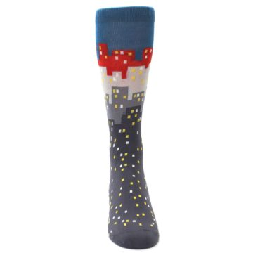 Image of Gray Blue Red City Men's Dress Socks (front-04)