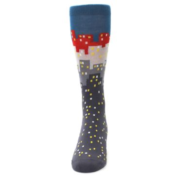 Image of Gray Blue Red City Men's Dress Socks (front-05)