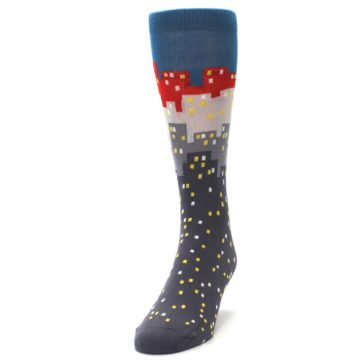 Image of Gray Blue Red City Men's Dress Socks (side-2-front-06)