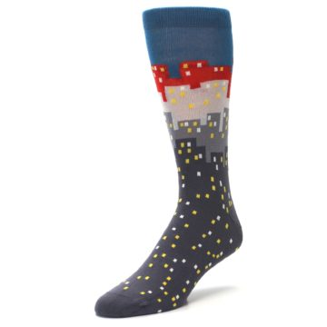 Image of Gray Blue Red City Men's Dress Socks (side-2-front-08)