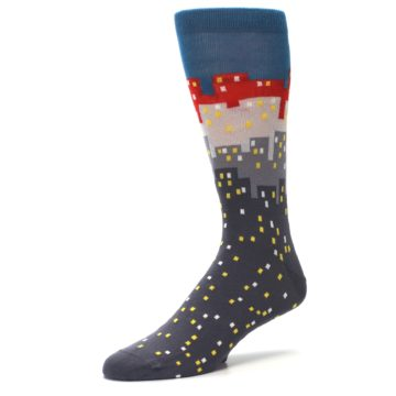 Image of Gray Blue Red City Men's Dress Socks (side-2-09)