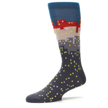 Image of Gray Blue Red City Men's Dress Socks (side-2-10)