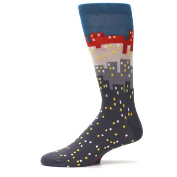 Image of Gray Blue Red City Men's Dress Socks (side-2-11)