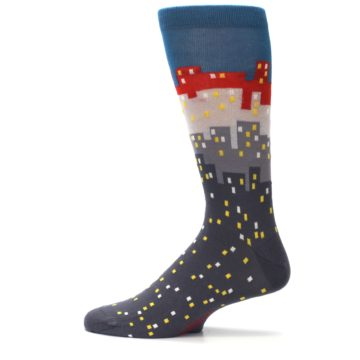 Image of Gray Blue Red City Men's Dress Socks (side-2-12)