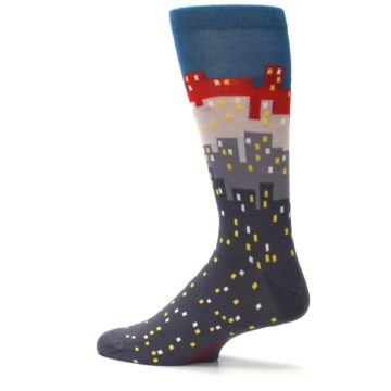 Image of Gray Blue Red City Men's Dress Socks (side-2-13)