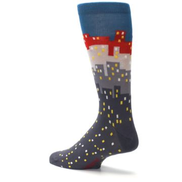 Image of Gray Blue Red City Men's Dress Socks (side-2-back-14)