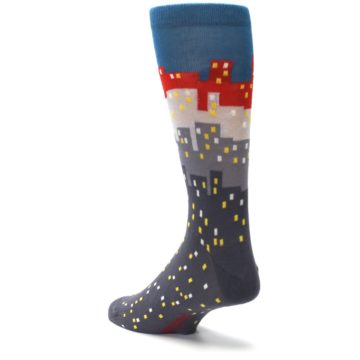 Image of Gray Blue Red City Men's Dress Socks (side-2-back-15)