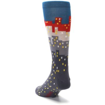 Image of Gray Blue Red City Men's Dress Socks (side-2-back-16)