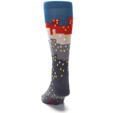 Image of Gray Blue Red City Men's Dress Socks (back-17)