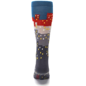 Image of Gray Blue Red City Men's Dress Socks (back-18)