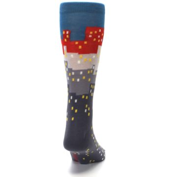 Image of Gray Blue Red City Men's Dress Socks (back-19)