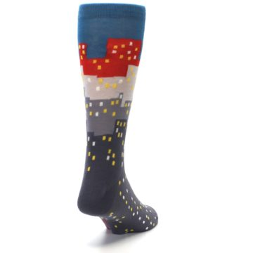 Image of Gray Blue Red City Men's Dress Socks (side-1-back-20)