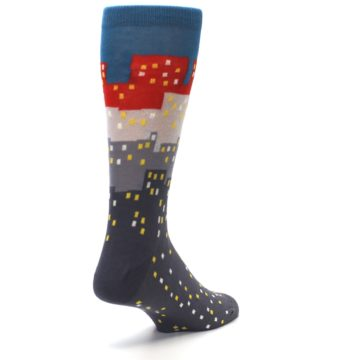 Image of Gray Blue Red City Men's Dress Socks (side-1-back-21)