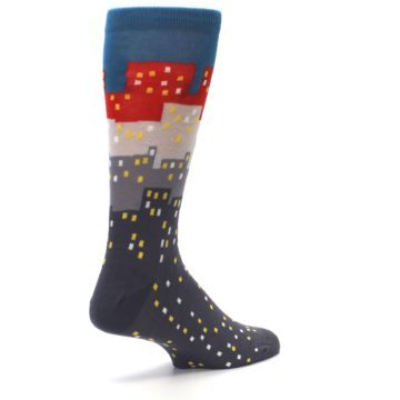 Image of Gray Blue Red City Men's Dress Socks (side-1-back-22)