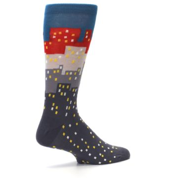 Image of Gray Blue Red City Men's Dress Socks (side-1-23)
