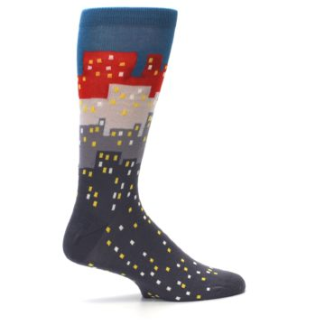 Image of Gray Blue Red City Men's Dress Socks (side-1-24)