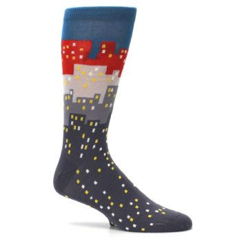 Image of Gray Blue Red City Men's Dress Socks (side-1-25)
