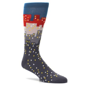 Image of Gray Blue Red City Men's Dress Socks (side-1-26)