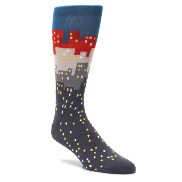 Image of Gray Blue Red City Men's Dress Socks (side-1-27)