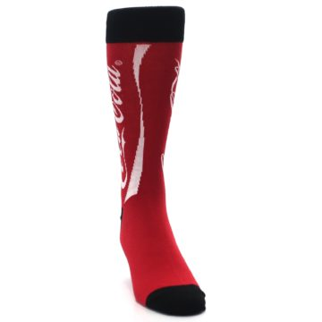 Image of Red White Coca Cola Coke Men's Dress Socks (side-1-front-03)