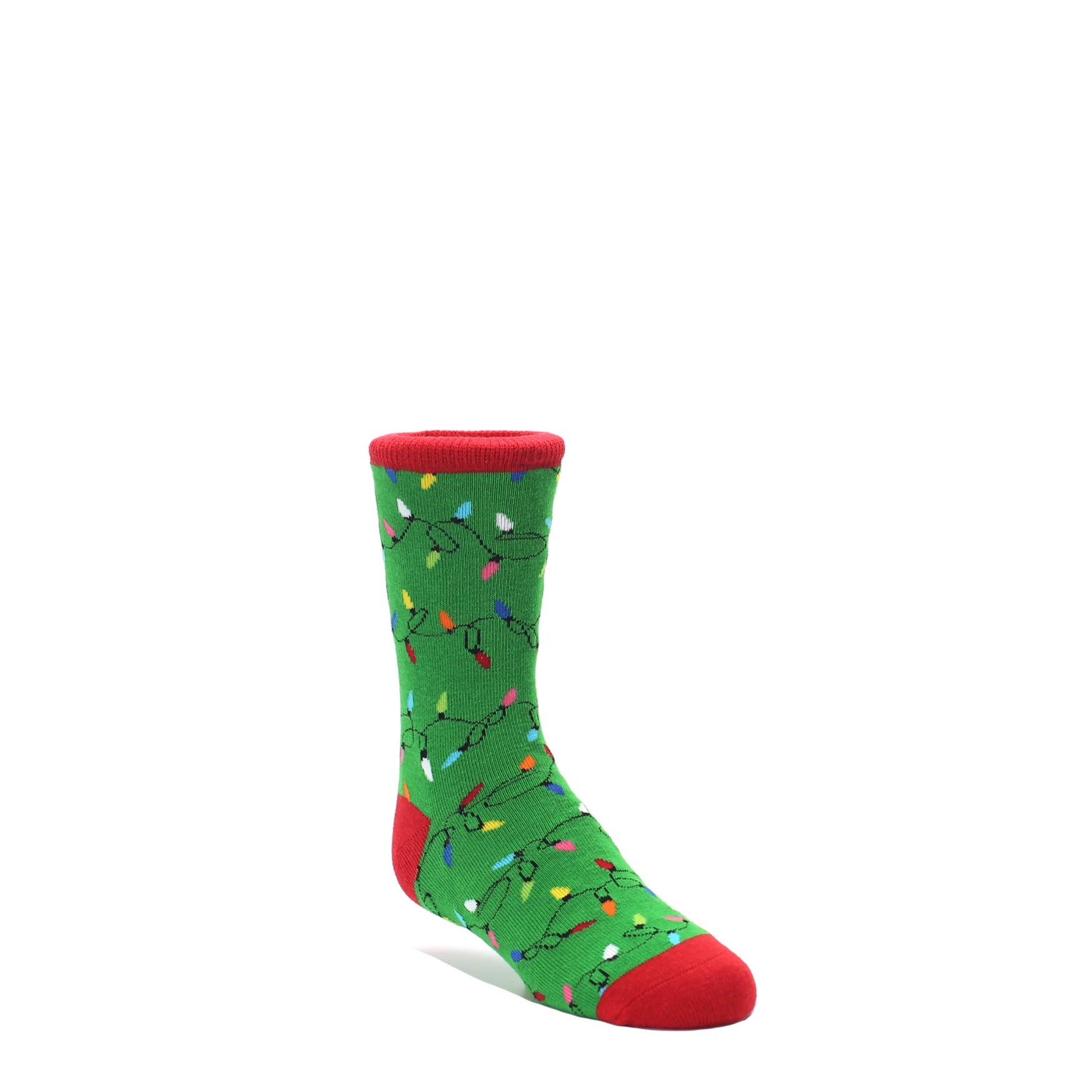 Green Christmas Lights Kid\'s Dress Socks   boldSOCKS