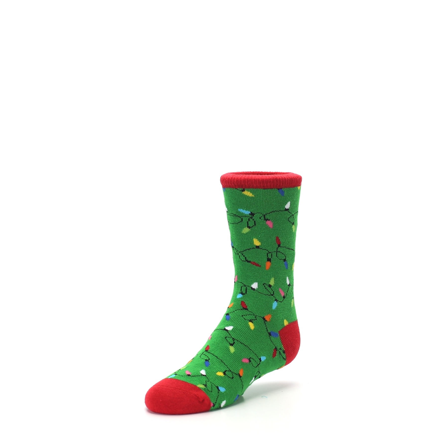 Green Christmas Lights Kid\'s Dress Socks | boldSOCKS