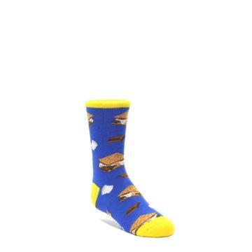 Blue-Marshmallow-Smores-Kids-Dress-Socks-Socksmith