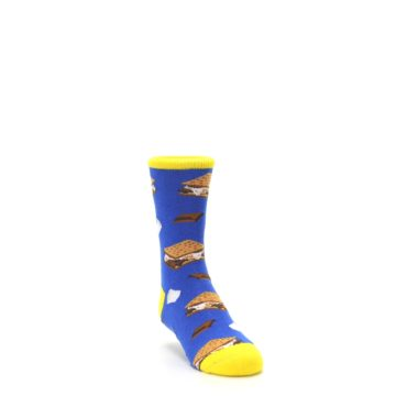 Image of Blue Marshmallow S'mores Kid's Dress Socks (side-1-front-02)