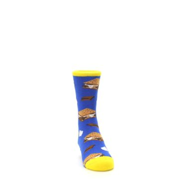 Image of Blue Marshmallow S'mores Kid's Dress Socks (side-1-front-03)